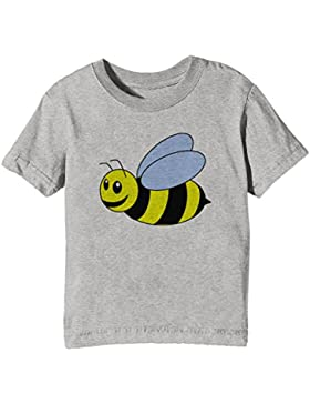 Abeja Niños Unisexo Niño Niña Camiseta Cuello Redondo Gris Manga Corta Todos Los Tamaños Kids Unisex Boys Girls...