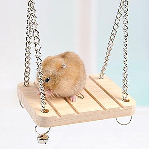 Hrph Hamster Conejo Ratón Chinchilla de madera que cuelga de mascotas Hamaca pequeña oscilación Juguetes Accesorios
