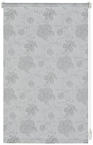 GARDINIA Rollo mit Stickerei zum Klemmen oder Kleben, Tageslicht-Rollo, Blickdicht, Alle Montage-Teile inklusive, EASYFIX Rollo Dekor, Silber, 90 x 210 cm (BxH)
