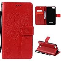 CaseFirst Wiko Lenny 2 Wallet Leather Case with Protective Durable PU Leather Shell Folio flip Cell Phone Cover Bag with Card Slots,Cash Pocket,Red