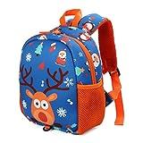 Kinderrucksack Babyrucksack Mini Backpack Kindergartentasche mit Brustgurt für 1-5 jährige Jungen und Mädchen im Kindergarten (Davidshirsch)