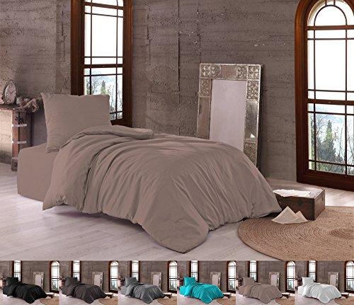 Niceprice Premium Mako Satin Bettwäsche 100{50b1864ee47fa27e733b9c1b5fb3bc566bab8e37bff293f6dabe19861ced6fd2} Baumwolle in 3 Größen und 6 Farben, Zusatzkissen 40x80 cm Taupe