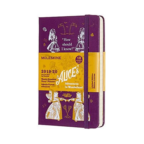 Moleskine, Agenda Settimanale 18 Mesi Alice in Wonderland, Edizione Limitata, Viola, Diario Accademico 2019/2020, Copertina Rigida e Chiusura ad Elastico, Dimensione Pocket 9x14 cm, 208 Pagine