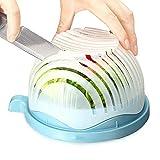 Salat-Schneide-Schüssel, 60Sekunden Salat Maker Obst Gemüse Schüssel, Schneide für  schnell geschnittenen frischen Salat blau