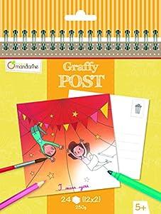 "Avenue Mandarine ""Funfair/Circus Tema graffy Post Color su Propio Postal (Negro/Blanco)"