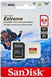 SanDisk SDSQXAF-064G-GN6AA Extreme 64 GB Micro SDXC Card with Adapter for Action Camera