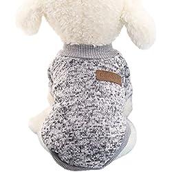Tongshi 8 color perro mascota cachorro clásico suéter polar suéter ropa caliente suéter de invierno (M, Gris)