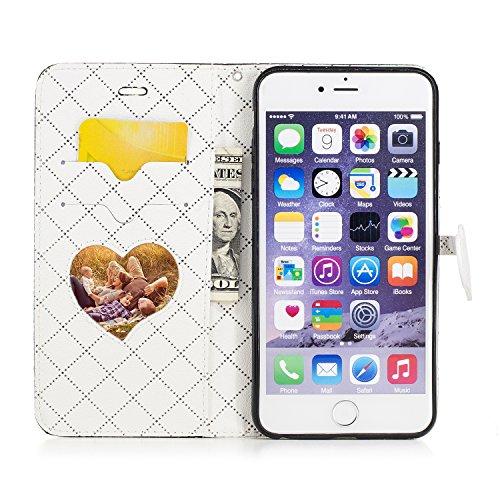 Custodia iPhone 6 Plus, Custodia iPhone 6S Plus, iPhone 6 Plus/iPhone 6S Plus Cover, ikasus® iPhone 6 Plus/iPhone 6S Plus Custodia Cover Colpire il colore [PU Leather] [Shock-Absorption] Chiusura magn Nero