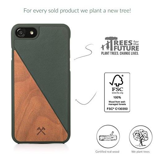 Accessories woodce–ecocase Split–Premium Design Étui, case, Cover, protection, Back Cover, Coque pour l'iPhone en bois véritable, certifié FSC et cuir artificiel | main + individuellement + haute  Kirsch/ grünes Leder