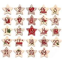 GLOREX Adventskalender-Zahlen 1-24, aus Holz, creme