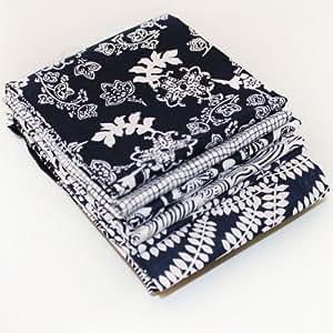 """Lot tissu coupon au choix bleu marine imprimé batik. 6 tissus 18"""" x 22"""". Patchwork/couture/couture"""