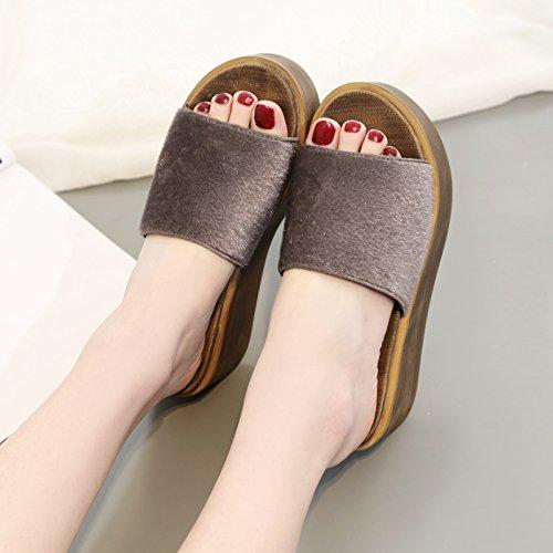 ZPPZZP Ms sandali pantofole spessa a tacco alto stile Coreano 37EU