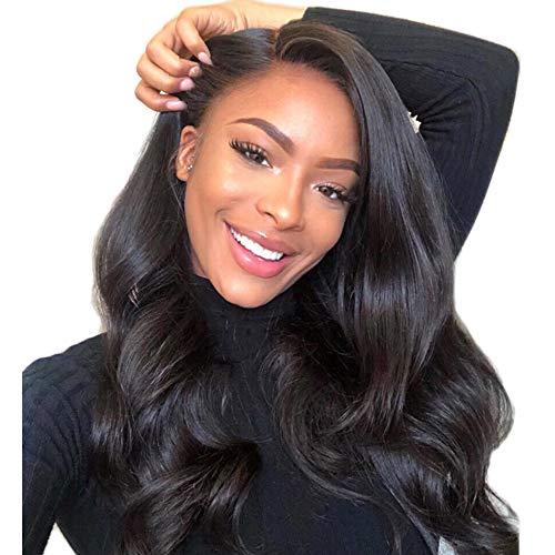 NIUDINNG Full Lace Wig Human Hair Wig for Women Echte Haare Perücke Brasilianisches Haar Weiches Haar Welle Jungfrau Remy Perucke Pre Plucked Natürlicher Haaransatz 24 zoll -