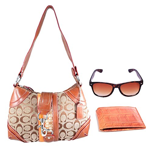 Holboro Special Couple Combo Single Strap Shoulder Handbag + Brown Wayfarer Sunglass for Women & Genuine High Quality Mens PU Leather Wallet