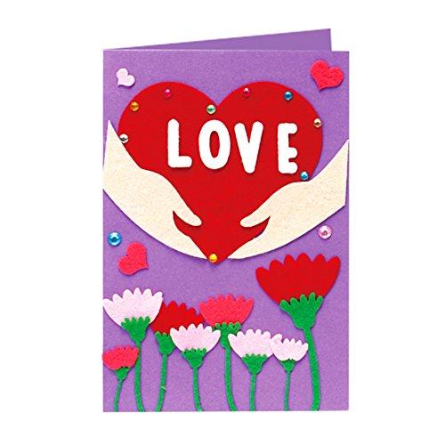 Isuper Bastelset Grußkarten, Kinder DIY Karten Zum Basteln Cartoon Grußkarte Lernspielzeug (Liebe)