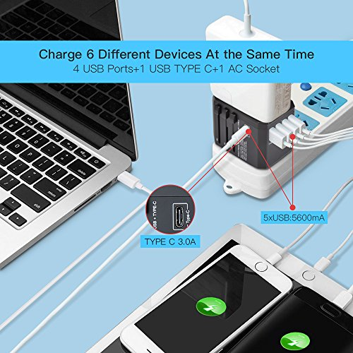 Reiseadapter Reisestecker Weltweit 224+ Ländern Universal Travel Adapter mit 4 USB Ports+Typ C und AC Steckdosen Internationale Reiseadapter für Europa Deutschland UK Australien USA Asien Thailand Usw