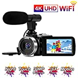 Videocamara 4K Cámara de Video 30MP WiFi Videocámara Vlogging con Pantalla Táctil de 3.0