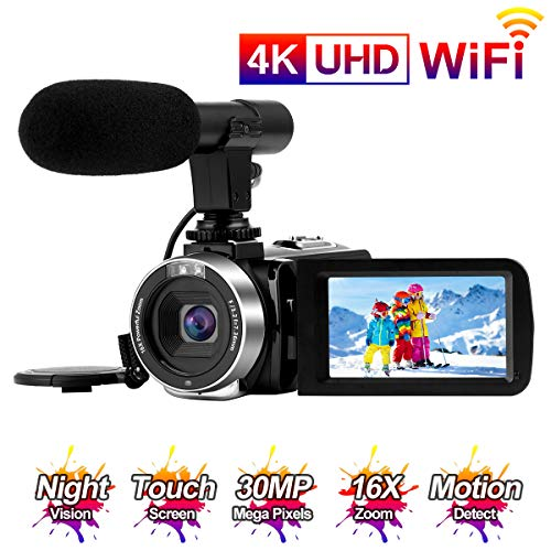 Videocamara 4K Cámara Video 30MP WiFi Videocámara