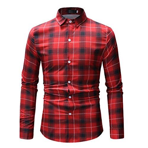 Amphia - Langärmliges HerrenhemdMens Spring Fashion Printed Casual Langarm Slim Shirts Tops Bluse