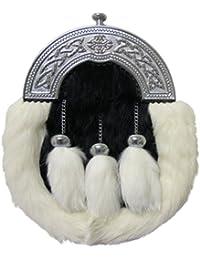 Tartanista Highland Sporran-Weißes Kaninchenfell-Schwarze Troddeln-Schottland