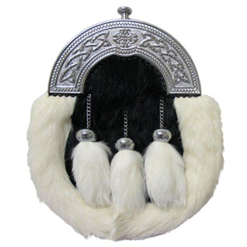 Preisvergleich Produktbild Tartanista - Sporran mit keltischem Zwiesel aus Kaninchenfell - Schwarz & Weiß