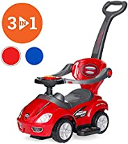 COOLBABY Best Choice Products Kids 3-in-1 Push and Pedal Car Toddler Ride On w/Handle, Horn, Music,Bluebaby ri