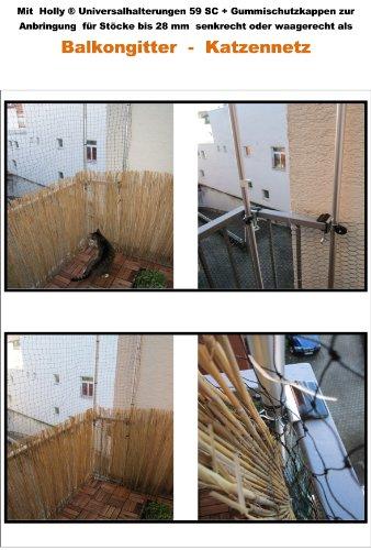 2 STÜCK - OHNE STÄBE - OHNE NETZ - NUR HALTER - mit Spannbacken bis 35 mm Ø - Holly ® KATZEN NETZE BEFESTIGUNGS HALTER - für runde STÄBE bis Ø 30 mm - 2 x Holly ® KATZEN - NETZE BEFESTIGUNGS HALTER - STOCK Ø 30 mm - für Balkongeländer Tisch-Stuhl-Schirmhalter Nr. 59SC - STABIELO - MIT - 2 - GUMMISCHUTZKAPPEN (3,50 EUR) zur kratzfreien BEFESTIGUNG -STABIELO ® - MADE in BADEN WÜRTTEMBERG - DIE ALUMINIUM SCHRAUBSTANGEN erhalten Sie unter ASIN B003B8G480 - https://vimeo.com/241400344 -