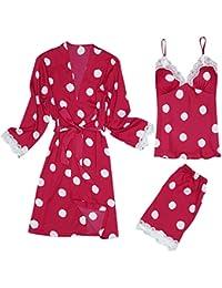 AIni Pijamas De Mujer Pijama Estampado Punto Pantalones Cortos De Liga MáS CamisóN Conjunto De 3