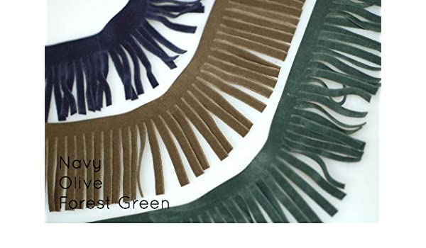 Navy Off-White Black 12 Colours Red Brown Home D/écor /& Crafts Green Olive Neotrims Faux Suede Leather Tassel Fringe Trimming Beige Boho Chic Style Edge Ribbon for Costume Orange