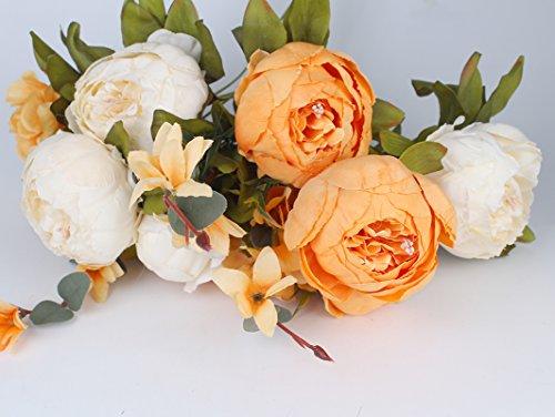 Amkun - bouquet vintage di peonie artificiali in seta, ornamento per casa e matrimoni, confezione da 1 white orange