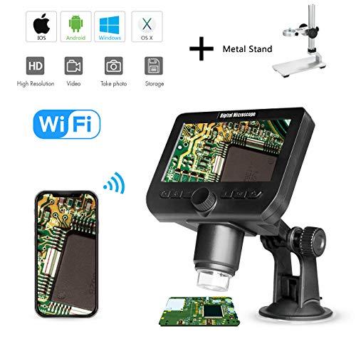 Microscopio digitale LCD 1000X, Bysameyee Wifi Wireless Zoom portatile da 4,3 pollici 1080P Zoom fotocamera con 8 luci LED Batteria ricaricabile per collezione di monete Riparazione saldatura