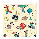 Grätz Verlag 20 Stück Servietten für Kinder, Schulanfang, Kindergeburtstag, Einschulung, mit Tieren z.b. für Einschulungsparty, bunt, quadratisch, grün, blau
