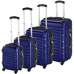 TecTake Set 4 piezas maletas ABS juego de maletas de viaje trolley maleta dura - disponible en diferentes colores - (Azul   no. 402027)