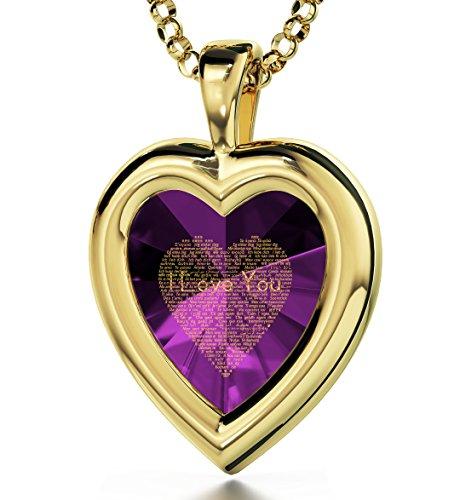 Pendentif Coeur - Bijoux Plaqué Or avec Je t'aime en 120 langues inscrit en Or 24ct sur Zircon Cubique en forme de Coeur, Chaine en Or Laminé de 45cm - Bijoux Nano Violet