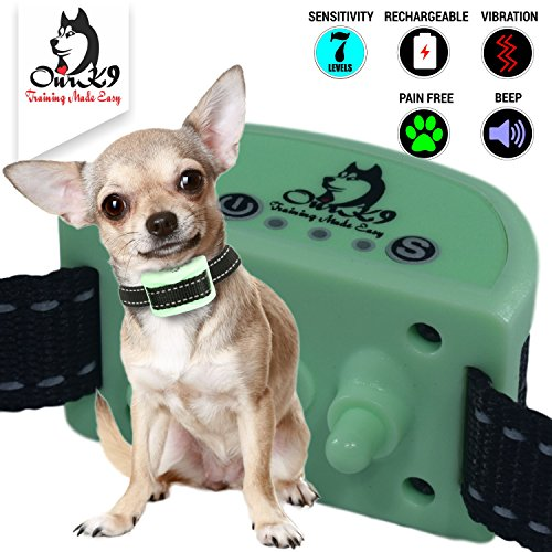 K9, Training, Anti Bark Halsband für kleine Hunde, mit Vibration, inkl. im, Mini, Bark Halsband-(No-Design, 1,4kg und (Vibrations-dämpfer Einzigartige)