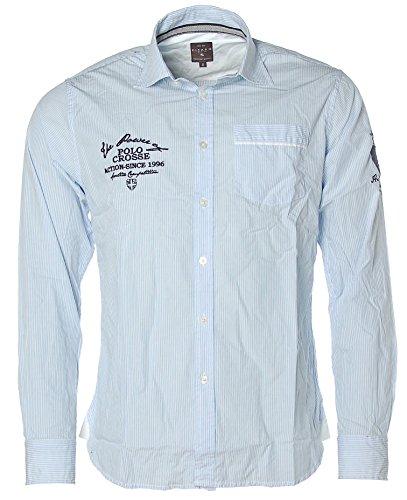 Kitaro Herren Langarm Shirt Hemd Freizeithemd Streifen Power of Polo Crosse Placid Blue