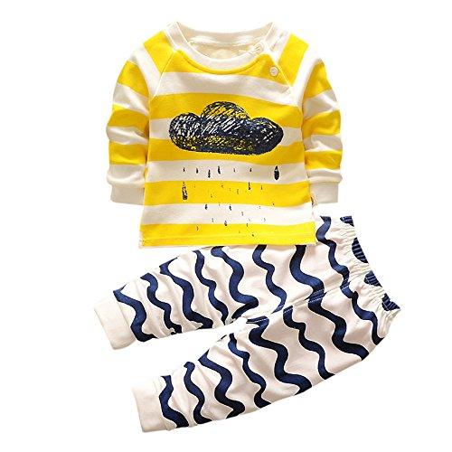 Neugeborenen Kleinkind Streifen Kleidung Set, DoraMe Baby Jungen Mädchen O-Ausschnitt Cartoon Cloud Print Hoodie Tops Shirt + Hosen Outfits für 0-3 Jahr (Gelb, 6 Monate)