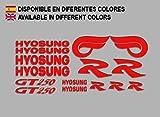 Ecoshirt E6-V8P2-YGVZ Autocollants Hyosung GT 250 F213 Stickers Aufkleber Decals Autocollants Bike Moto GP, Rouge