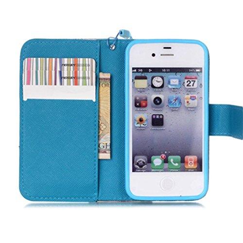 KATUMO® Handyhülle für iPhone 4, [Flip Book Case] PU Leder Wallet Case Handytasche Schutzhülle für Apple iPhone 4/4S Lederhülle Etui Schale mit Standfunktion Function,Fantasie Campanula Lotus