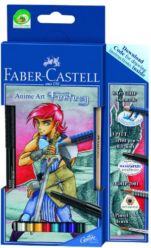 Faber-Castell 114484 - Zeichenset Art Grip Aquarelle Anime Art Fantasy
