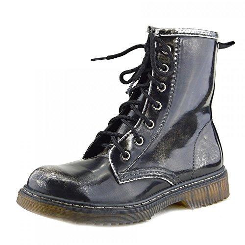 Kick Footwear Damen Knöchel Retro-Combat-Boot-Womens Lace Funky Vintage Goth Ankle Boot - UK 4/EU 37, Vintage