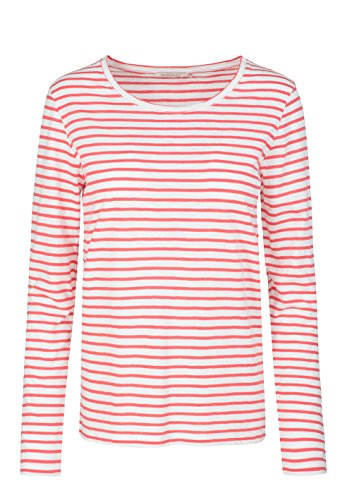 ARMEDANGELS Damen Longsleeve aus Bio-Baumwolle - Charlotte Stripes - GOTS, ORGANIC, CERES-008 off white-coral red
