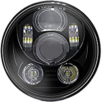"""Wisamic 5-3/4 5.75"""" Round LED Projection Daymaker Headlight for Harley Davidson Motorcycles 9 pcs Bulb-Black"""