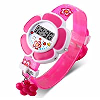 SparY New Lovely Flower Cute Kids Watches Children Watches Cartoon Silicone Digital Wristwatch For Boys Girls(Rose Red)