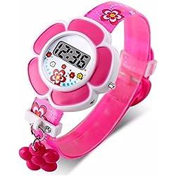 UxradG Lovely Flor Patrón Relojes Niños, Impermeable Digital Lindo Niños Relojes de Pulsera de Silicona Cartoon para Niños Niños Niñas, Rojo Rosado, Tamaño Libre
