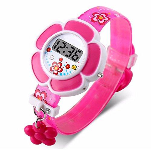 Reloj infantil con flores lindas Reloj impermeable para niños, 3D Reloj de pulsera digital de silicona...