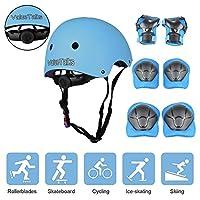 ValueTalks Kids Bike Helmet and Pads Set Adjustable Kids Skateboard Helmet Knee Pads Elbow Pads Wrist Pads for Skateboard Roller Cycling Skating Blue