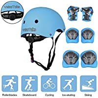 ValueTalks Kid's Protective Gear Set, Child's Adjustable Helmet, Knee Pads, Elbow Pads and Wrist Pad for Skateboard Roller Skating Cycling Rollerblades