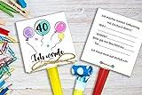 Einladungskarten zum Geburtstag 30, 40, 50 etc. inkl. Party Tröte Luftballons