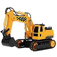 Simlug Remote Control Excavator, 1/20 Plastic Engineering Car Toy 2.4G Remote Control LED Excavator Model for Kids